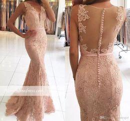 Wholesale Full Length Formal Dresses - Elegant Rose Pink Full Lace Mermaid Prom Dresses 2017 Plunging V Neck Illusion Back Long Evening Dresses Sequins Appliques Formal Wear