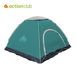 Wholesale tent person layer - Wholesale- Actionclub 3-4 Person Outdoor Tent Elargol PU Waterproof Anti UV Single Layer Outdoor Hiking Camping Quickly Build Tent SC130