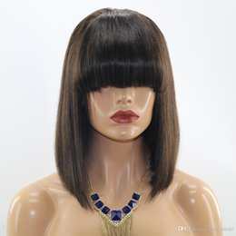 Wholesale European Full Swiss Lace Wigs - 8A Human Hair Wig Short Bob With Bangs Brazilian Hair Full Lace Wig With Baby Hair For Black Women