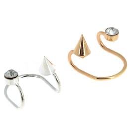 Wholesale Rivet Ear Cuff - 1Pair Chic Women Crystal Rivet Ear Cuff No Piercing Cartilage Earrings Spike Ear Clips Gold Silver Color Fashion Jewelry