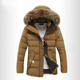 Wholesale White Parka Fur Hood - Wholesale- 2016 New Casual Mens Winter Windproof Parka With Fur Hood Thick Good Quality Mens Long Winter cotton Coats Free shipping M-3XL