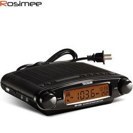 Wholesale Mp3 Alarm Clock Radio Portable - Wholesale-TECSUN MP-300 Radio FM Stereo DSP Radio USB MP3 Player Desktop Clock ATS Alarm Portable Radio Receiver Y4137A LED Display