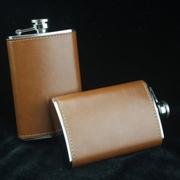 Wholesale Leather Pocket Flask - Wine Flask 5oz Portable Stainless Steel Flagon Faux Leather Wine Bottle Retro Pocket Hip Flask Russian Flagon Drinkware 2017