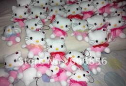 2019 hola juguetes Venta al por mayor- Hello Kitty Plush Dolls Juguetes blandos 7cm Tamaño Muñecas calientes Juguetes de peluche Regalo de cumpleaños Teléfono pequeño Pendajt 30PC / Lote Precio barato rebajas hola juguetes