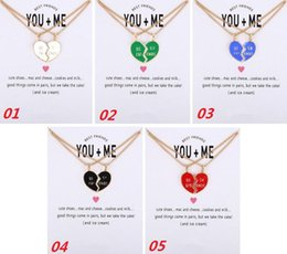 Wholesale Friends Day Cards - 2017 New Dogeared Necklace With Card Colored Glaze Broken Heart Best Friend Pendant Noble and Delicate Choker