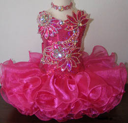 Wholesale Cheap Sequin Little Girl Dresses - Jewel fuchsia sequin necklace cheap Shining beaded ball gown cupcake toddler little girls pageant dresses flower girls for weddings glitz