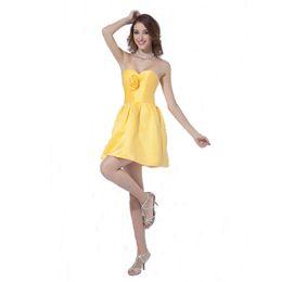 Vestido de dama de honra de cetim amarelo cetim on-line-Vestido de dama de honra do cetim do querido do estilo formal acima do vestido de partido das senhoras do comprimento do joelho com flor Handmade