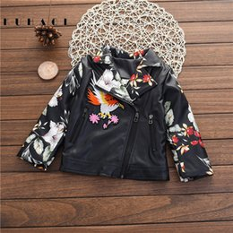 Wholesale Boys Kids Leather Jackets - Kids Outwear 2017 Autumn Winter Girls Coats Boys PU Leather Jacket Thicken Casual Handwork Embroidery Children Outerwear