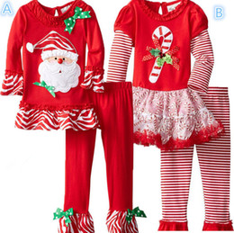Wholesale Winter Outfit For Children - Wholesale- New 2017 fashion Autumn children girl boutique outfits clothing sets For kids Christmas santa ruffle pants Set