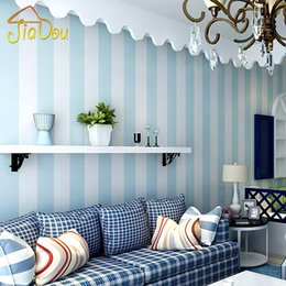 Wholesale Vertical Stripes Wall Paper - Wholesale- Simple Vertical Stripe 3D Embossed Flocking Non-woven Wallpaper Wall Mural Paper Bedroom Living Room TV Sofa Background Decor