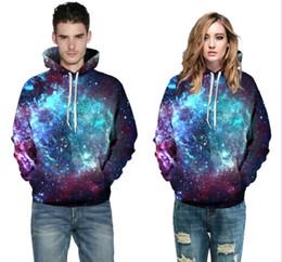 Wholesale Men Pullover Hoodies Wholesale - 3D Hoodies 2017 Boy's Novelty Streetwear 3D Couples galaxy printing belt pocket Hooded hoodies