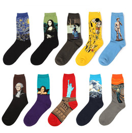 Wholesale Wholesale Socks Designs - NEW Fashion Art Cotton Crew Printed Socks Painting Character Pattern Women Men Harajuku Design Sox Calcetine Van Gogh Novelty Funny
