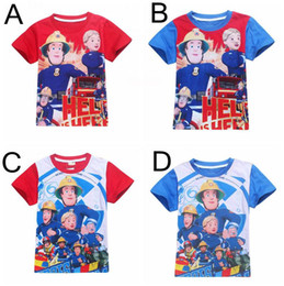 Wholesale Organic Baby T Shirts Wholesale - Fireman Sam Saving The Day 100% cotton Boys Summer Tops Short Sleeve T-shirts Kids baby clothes Cartoon Tees