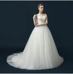 Wholesale Romantic Sweetheart Ball Gown - 2017 Off Shoulder Ball Gown Tulle Economic Simple Wedding Dresses Solid High Quality Tulle Romantic Bridal Gown