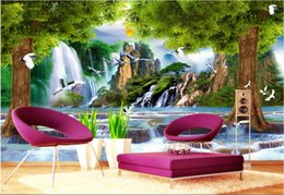 Wholesale wall tree photo - 3d wallpaper custom photo non-woven mural Water the tree crane decoration painting 3d wall murals wallpaper for walls 3 d living room
