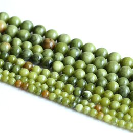 Wholesale Yellow Jade 8mm - Natural Genuine Yellow Green XingJiang Jade Round Loose Gemstone Stone Beads 6mm 8mm 10mm 12mm 05218