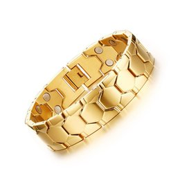 Wholesale Mens Titanium Chain Link Bracelets - Gold Color 21cm Titanium Steel Magnetic Bracelet Health Care Men Jewelry Mens Bracelets Boyfriend Gifts Best Mens Gift Accessory B838S