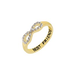 Wholesale White Gold Infinity Ring - Wholesale 10Pcs lot Free Shipping 2017 Hot Sale Fashion Infinity Midi Rings Cubic Zirconia Jewelry Best Friend Gold Filled Rings