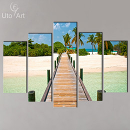 Wholesale Ocean Painting Piece - Modern Wall Decoration Painting Seascape 5 Piece Canvas Art Ocean Beach Painting Custom Canvas Prints Modular Pictures for Home