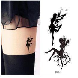 2019 pintura corporal de oro Impermeable Tatuaje Falso Mujeres Pierna Cofre Sexy Etiqueta Temporal Aleteo Ángel Hada Chica Diseño de la Cubierta de la Cicatriz Tatuaje Rápido