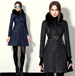 Wholesale Fur Collar Trench - winter coat women Argyle slim outerwear coats leather fur collar leather clothing trench female thickening wadded jacket outerwear