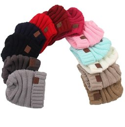 Wholesale Wholesale Crocheted Hats - Baby Hats CC Trendy Beanie Crochet Fashion Beanies Outdoor Hat Winter Newborn Beanie Children Wool Knitted Caps Warm Beanie KKA2143