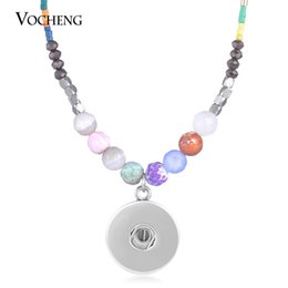 Wholesale Gemstone Buttons - NOOSA 18mm Vocheng Snap Button Stainless Steel Chain Necklace Colorful Semi Gemstone Stone Jewelry NN-615