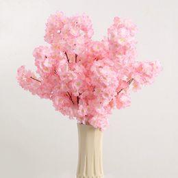 Wholesale Cherry Wedding Favors - Silk Artificial Flowers Cherry Blossoms Decor Wedding Decorative Favors Bride Home Party Decoration for Wedding Supplies Heads Flower