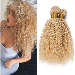 Wholesale Kinky Blonde Hair Extensions - Fashion Blonde Kinky Curly Hair Extensions Cheap #613 Blonde Weaving Weft Unprocessed Indian Human Hair Weave Bundles Afro Kinky Curly