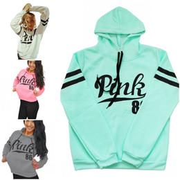 Wholesale V Neck Tops Women - Women Pink Letter Hoodie Pink Pullover Tops Brand Shirt Coat Sweatshirt Long Sleeve Hoodies Casual Sweater Fashion Hooded Coat
