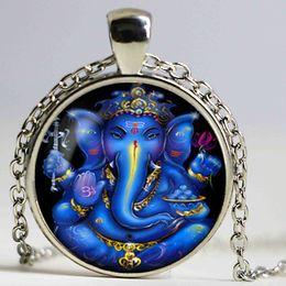 Wholesale God Elephant - Lucky Charm Indian Elephant Head God Ganesh Glass Cabochon Pendant Black Chain Choker Necklace Amulet Jewelry Cute Family Gift