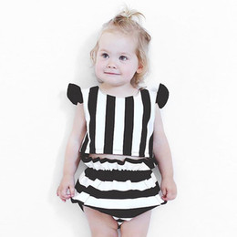 Wholesale Cool Girl Costumes - 2017 ins baby girl suits cool summer children clothing sets baby black and white striped tops + shorts kids costumes free shipping