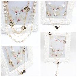 Wholesale multilayer dress - New Arrival Multilayer Alloy Pearl Necklaces & Pendants Flower Heart Pendant Long Chain For Women Dress Accessories Jewelry