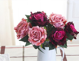Wholesale Colorful Rose Bouquet - Wholesale Free Shipping Blooming Real Touch colorful silk artificial Rose Flower Bouquet 8 Colors Option for wedding and home decoration
