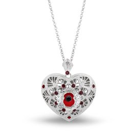 Wholesale white gold filigree - 1.2 Inch Filigree Poppy and Heart Necklace with Red Enamel and Crystals White Gold Tone