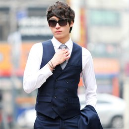 Wholesale Korean Wedding Suits For Men - Wholesale- Double Breasted Mens Wedding Dress Waistcoats Brand Casual Formal Waist Coat Korean Suit Jackets Vests For Men Gilet Homme
