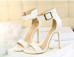 Wholesale Sliver Heels - buckle high heels satin wedding shoes women shoes for wedding white pink blue green black sliver high heels