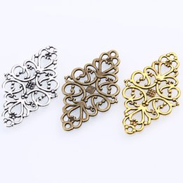 Wholesale Vintage Jewelry Connector - Wholesale- Hollow Filigree Flower Charms Jewelry Connectors Vintage Metal Zinc Alloy Trendy Filigree Charms 30pcs 25*41mm 0462