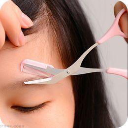 Wholesale Cutter Comb - Women Eyebrow Trimmer Comb Eyelash Hair Scissors Cutter Remover Makeup Tools
