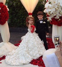 Wholesale Red Rosette Dress - Fascinating A Line Girls Prom Dresses Flower Sparkle Spaghetti Straps Court Train Rosette Girl Wedding Gowns Flower Girl Dress