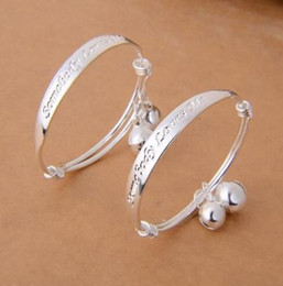 Wholesale Baby Bangle Bells - 2pcs pair Newest Hot sale S925 silver white copper English letter love baby childrend's bracelet bangle Bells baby bracelet bangle jewelry