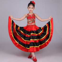 Wholesale Black Belly Dance Dress - Girls Spanish Dancer Costume Flamenco Fancy Dress Belly Dance Top & Skirt Dress Bollywood Dancing Red Black Senorita Child Kids
