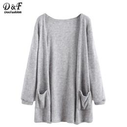 Wholesale Long Cuffed Sweater - Wholesale- Dotfashion Women Fashion High Quality Sweater Korean Style Women Coats Knitwear Grey Elastic Cuff Cardigan With Pockets