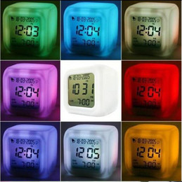 Wholesale Color Change Digital Table Clock - Digital Alarm Clock Glowing LED 7 Color Change Clocks Thermometer Colorful Table Clock with Calendar Free Shipping