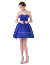 Wholesale Lace Royal Blue Homecoming Dress - 2017 Real Samples Satin Ball Gown Short Royal Blue Prom Dress Party Dresses Sweetheart High School Homecoming Dresses with Pockets