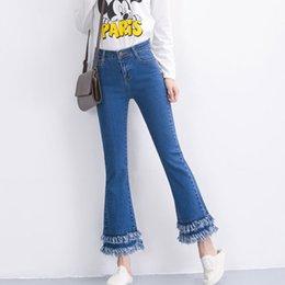 Wholesale Wide Flare Jeans - Wholesale- jeans woman flare pants women Tassel jeans Slim High-waist retro flared jeans BF Denim pants Elasticity trousers wide leg pants