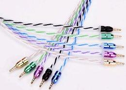 Wholesale Drums Usb - 1 5ps Rainbow Aluminum Alloy Connectors AUX Car Audio Cables 3.5mm Cars Speakers Public To Publics Audios Line Fashion