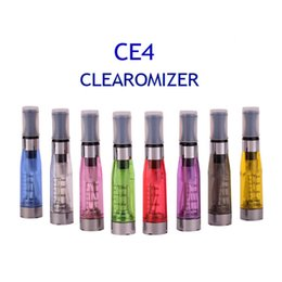 Wholesale E Cig Ce4 Wicks - .CE4 Atomizer 8 available colors 1.6ml 2.4ohm 4 wicks no leak math with eGo e-cig battery CE4 Clearomizer
