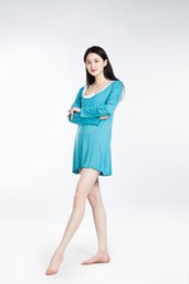 Wholesale Blue Ladies Nightgown - 100% Lenzing Modal Sky Blue Women Pajama Skirt Lady Pajamas Nightgowns Robe Women's Nightgown Cotton Nightwear Long Sleeve Sleepwear