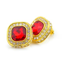 Wholesale Earring Ruby - Mens Hip Hop Screw Backs Ruby Earrings Iced Out Square Stud Earring For women men jewelry